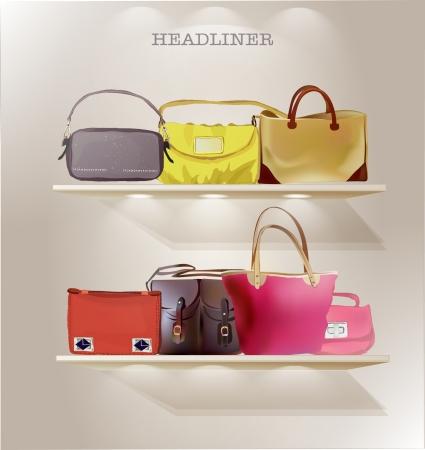 Illustration pour bags on the shelves - image libre de droit