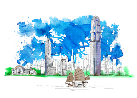Photo pour Hong Kong business center, bank of China, Sketch with colourful water colour effects - image libre de droit
