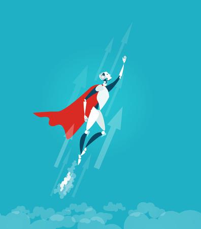 Ilustración de Robot flying in sky, getting ready to help and bring assistance. - Imagen libre de derechos