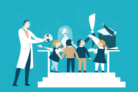 Scientist showing to the grope of children robot creation process. Educational concept illustration