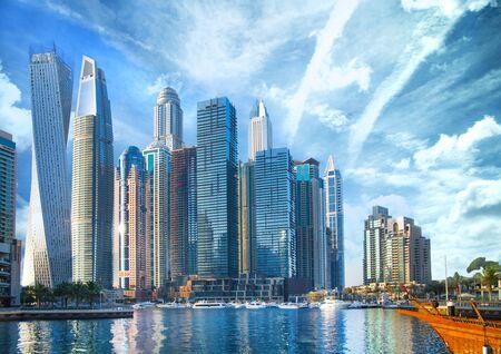 Photo pour UAE, United Arab Emirates. Dubai and the Persian gulf at sunset - image libre de droit