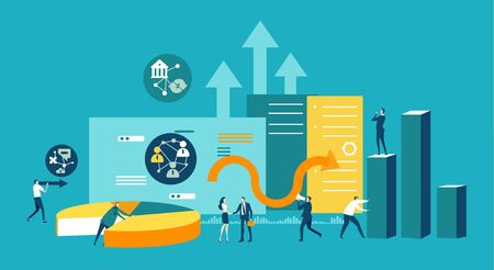 Illustration pour Lots of little business people working together against of note pad, graphs and growth bars, arrows and puzzle pieces and gears, Busy modern life, working together concept, advisory and support. - image libre de droit