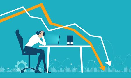 Illustration pour Business people getting over stressed in the office, exhausted, tired person working long hours, competitive business life, stress and depression concept illustration. - image libre de droit