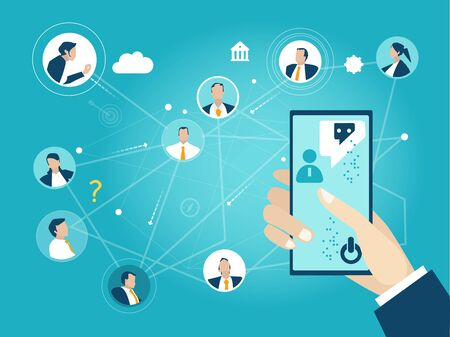 Illustration pour Conference call, online meeting, international team working process - image libre de droit