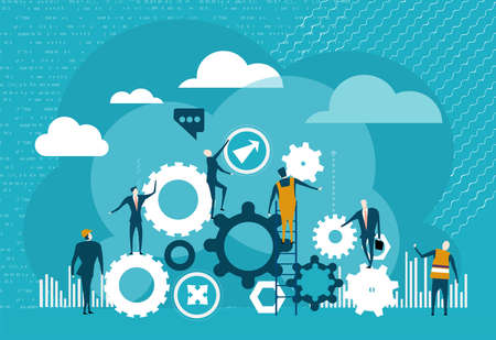 Illustration pour Business people working with gears. Work together. - image libre de droit