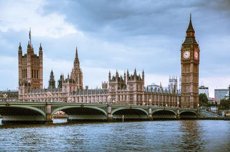Foto für LONDON, UK - June 24, 2019 - Big Ben, Houses of Parliament and Westminster bridge on Thames river. - Lizenzfreies Bild