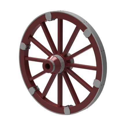 3d render of  ancient wheel in a metal rim on a white background