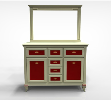 3d render of wooden chest of drawers with a mirror on the plane