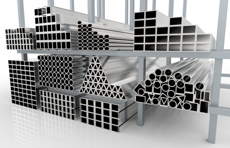3d render of  metal pipes on shelf