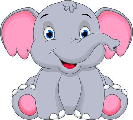 Cute baby elephant cartoon のイラスト素材