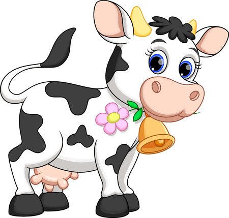 Photo pour Cute cow cartoon - image libre de droit