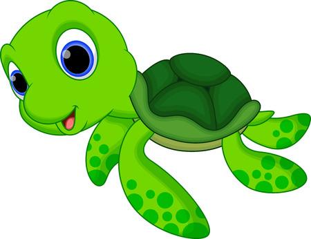 Illustration pour Cute baby turtle cartoon - image libre de droit