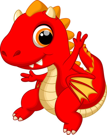Illustration pour Cute baby dragon cartoon - image libre de droit