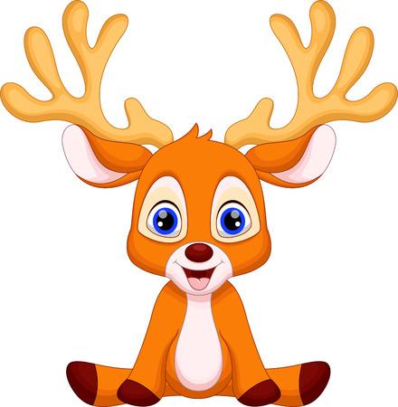 Illustration pour Cute baby deer cartoon sitting - image libre de droit