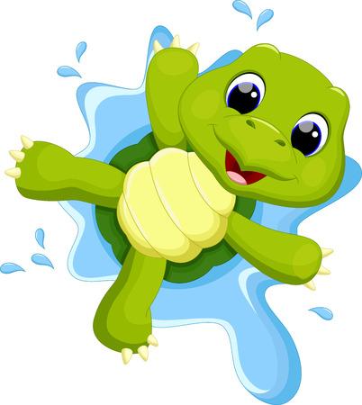 Illustration pour Turtle playing on the water - image libre de droit