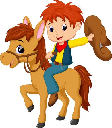 Ilustración de Cowboy riding a horse - Imagen libre de derechos