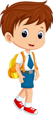 Illustration for Cute boy in uniform going to school - Royalty Free Image