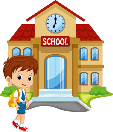 Little boy going to school