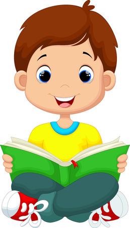 Ilustración de Little boy reading a book - Imagen libre de derechos