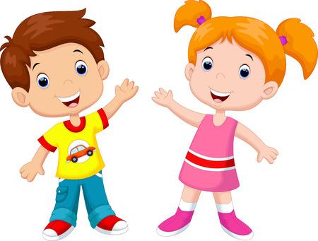 Ilustración de Cute cartoon boy and girl - Imagen libre de derechos