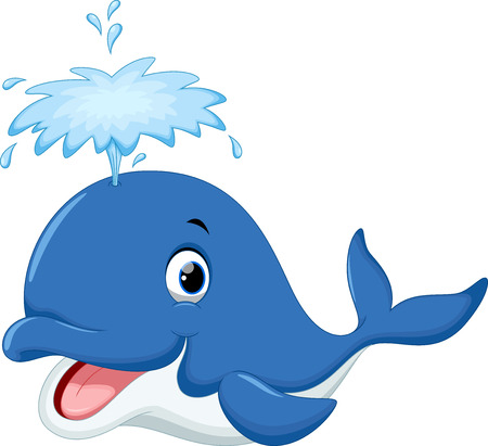 Illustration pour Cute whale cartoon - image libre de droit