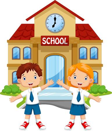 Illustration pour School children posing in front of school - image libre de droit