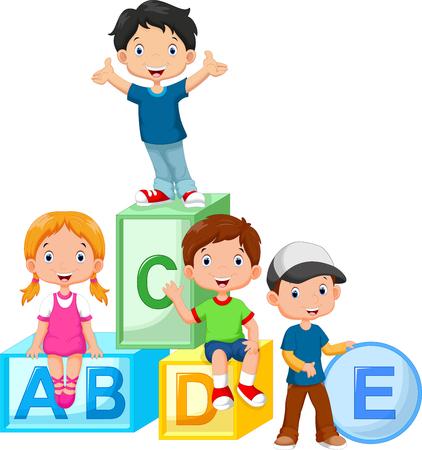 Illustration pour Happy school children playing with alphabet blocks - image libre de droit