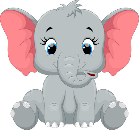 Illustration pour Cute elephant cartoon sitting - image libre de droit