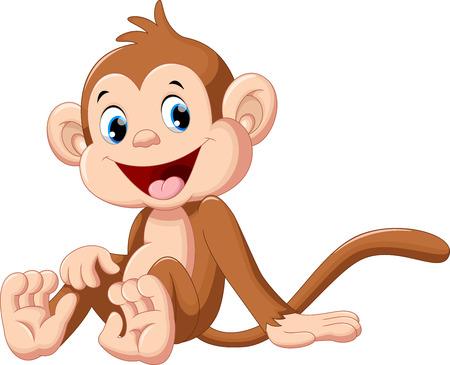 Ilustración de Cute baby monkey cartoon sitting - Imagen libre de derechos
