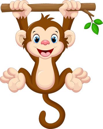 Ilustración de Cute baby monkey hanging on tree - Imagen libre de derechos
