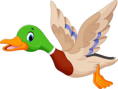 Illustration pour Cartoon flying duck - image libre de droit