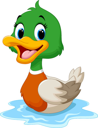 Illustration for Cartoon duck swimming - Royalty Free Image