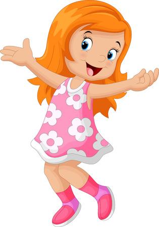 Ilustración de Happy cute girl cartoon - Imagen libre de derechos