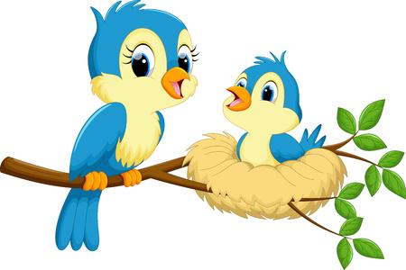 Ilustración de Mother bird with babies - Imagen libre de derechos