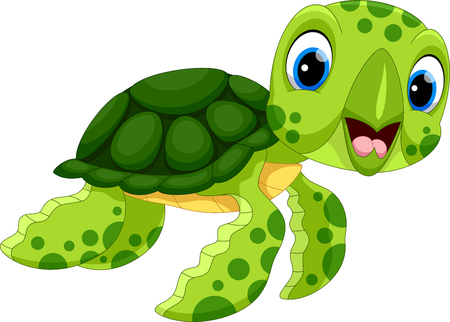 Photo pour Vector illustration of cute turtle cartoon isolated on white background - image libre de droit