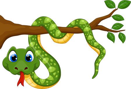 Ilustración de Cute cartoon snake on branch - Imagen libre de derechos