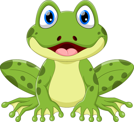 Illustration for Vector illustration of cute frog cartoon isolated on white background. - Royalty Free Image