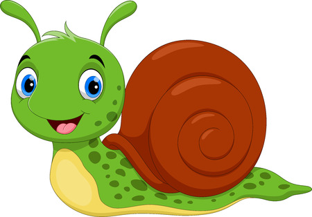 Illustration for Vector illustration of Cute Snail cartoon running on white background - Royalty Free Image