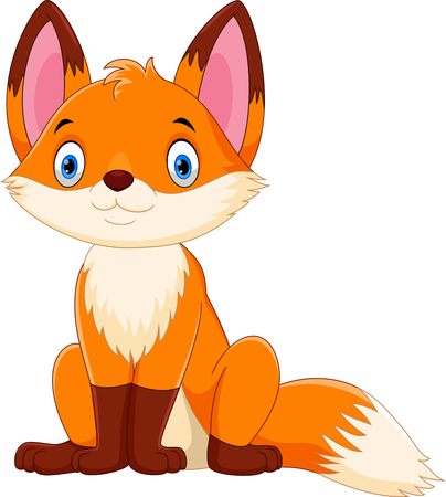 Illustration for Vector illustration of cute and adorable fox cartoon isolated on white background - Royalty Free Image