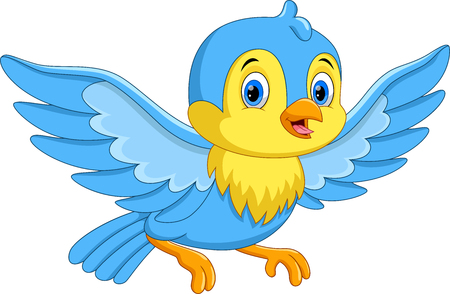 Illustration for Vector illustration of cute cartoon little bird flying isolated on white background - Royalty Free Image