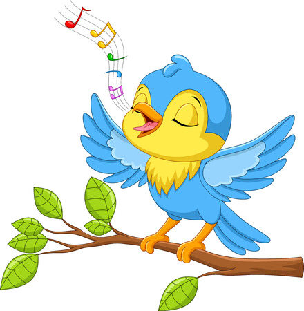 Illustration pour Vector illustration of Cute little bird sings on a tree branch isolated on white background - image libre de droit