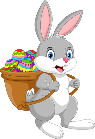 Illustration pour Vector illustration of Cartoon Easter bunny with egg basket isolated on white background - image libre de droit