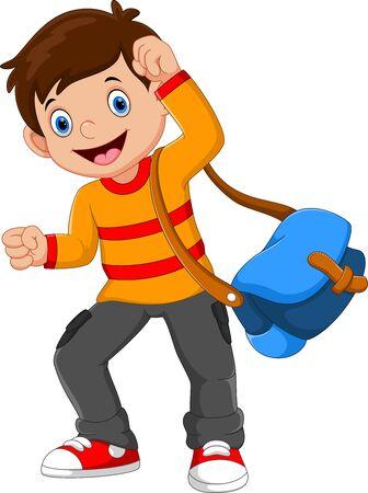 Ilustración de Vector illustration of happy school boy isolated on white background - Imagen libre de derechos