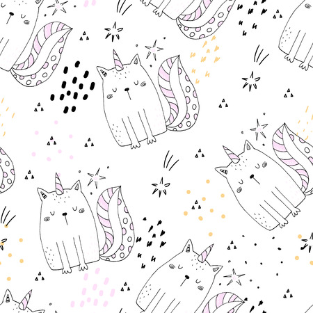 Illustration for Seamless pattern with hand drawn cute cats unicorn. Cartoon cat vector illustration. - Royalty Free Image