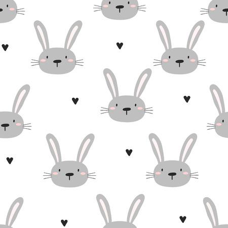 Illustration pour Seamless pattern with cute little bunny. vector illustration. - image libre de droit