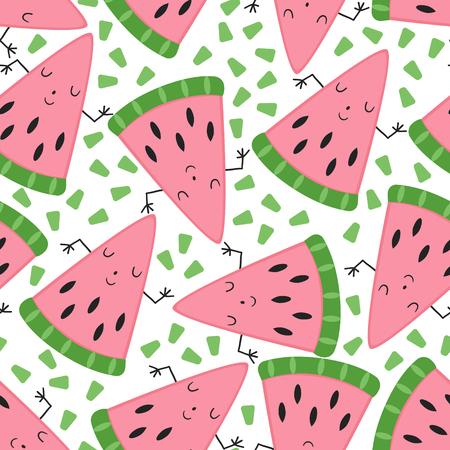 Illustration pour seamless cute melon fruit pattern vector illustration. - image libre de droit