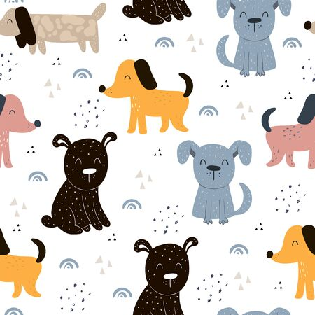 Illustration pour Childish seamless pattern with hand drawn dogs. Trendy scandinavian vector background. Perfect for kids apparel,fabric, textile, nursery decoration,wrapping paper - image libre de droit