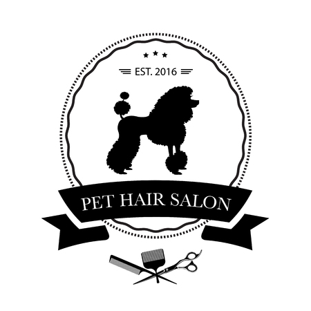 Ilustración de Logo for pet hair salon, styling and grooming shop, pet store for dogs and cats. Vector illustration - Imagen libre de derechos