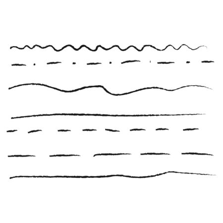 Set of drawing by hand lines for underlining. Diverse linear doodles for design. Wavy, solid and dashed lines in grunge style. Vector illustration.