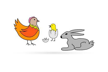 Illustration for Easter set isolated on white. Newborn chick in shell of egg, rabbit, Kids hand drawing art line. Sticker vector stock illustration - Royalty Free Image
